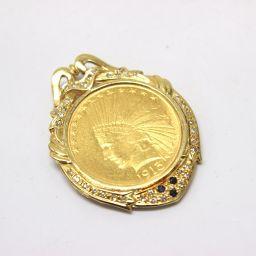 JEWELRY【リサイクルジュエリー】 1913年 アメリカ インディアン 10ドル金貨 ペンダントトップ チャーム /K18