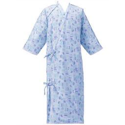 日本エンゼル ケアねまき(ガーゼタイプ) ブルー LL 5074 介護 介護用パジャマ・寝巻き全部