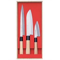 ヤクセル 関鍔蔵(セキツバゾウ)作 三徳・刺身・小出刃3本組セット 30045 ホーム&キッチン 包丁セット