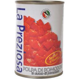 オーバーシーズ ラ・プレッツィオーサ 皮なしトマト缶 ダイス 400g フード トマト缶詰(トマト缶)