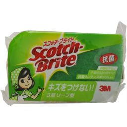 スリーエムジャパン 3M スコッチブライト キッチンスポンジ 抗菌 リーフ型 グリーン SS-72KG 日用品 スポンジ(キッチン用)