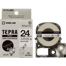キングジム キングジム テプラPROテープ インデックスラベル SSY24K(白/黒文字 24mm幅) 家電 24mm幅テプラテープ