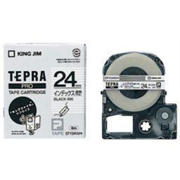 キングジム キングジム テプラPROテープ インデックスラベル STY24KM(透明/黒文字 24mm幅) 家電 24mm幅テプラテープ