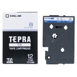 キングジム 【在庫限り】キングジム テプラTRテープ TC12SB(白/青文字 12mm幅) 家電 12mm幅テプラテープ