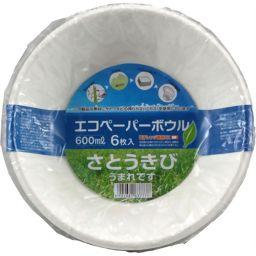 大和物産 バガスペーパーウェア エコペーパーボウル 600ml 6枚入 ホーム&キッチン 紙皿・簡易食器