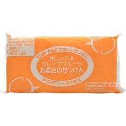 まるは油脂化学 七色 お風呂のせっけん オレンジ&グレープフルーツ(無添加石鹸) 100g×3個入 日用品 自然派石鹸