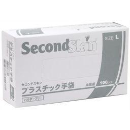 A.R.メディコム・インク・アジア・リミテッド メディコム セコンドスキン プラスチック手袋 パウダーフリー Lサイズ 100枚 衛生医療 プラスチック手袋(グローブ)
