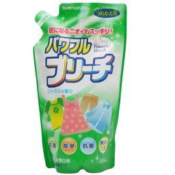 ロケット石鹸 パワフルブリーチ 濃縮タイプ シトラスの香り つめかえ用 480ml 日用品 酸素系漂白剤 衣類用