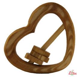 ティーレックス Lotes toys(ロテストイズ) ラトビア製 木のおもちゃ ハート型ラトル ベビー&キッズ 飲料ホルダー