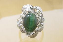 SELECT JEWELRY【セレクトジュエリー】 リング・指輪 Pt 900/ダイヤモンド/トルマリンキャッツアイ レディース