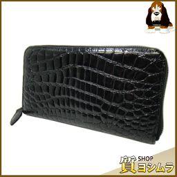 CROCODILE【クロコダイル】 ラウンドファスナー 長財布(小銭入れあり) クロコダイル/エナメル メンズ