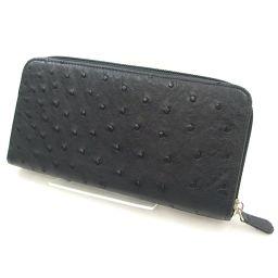 【】 長財布(小銭入れあり) オーストリッチ メンズ